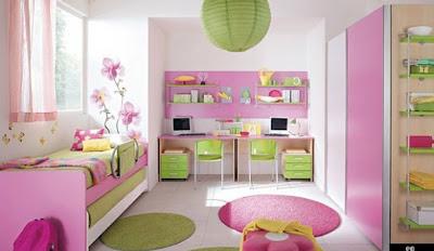 cuarto muebles rosa niña