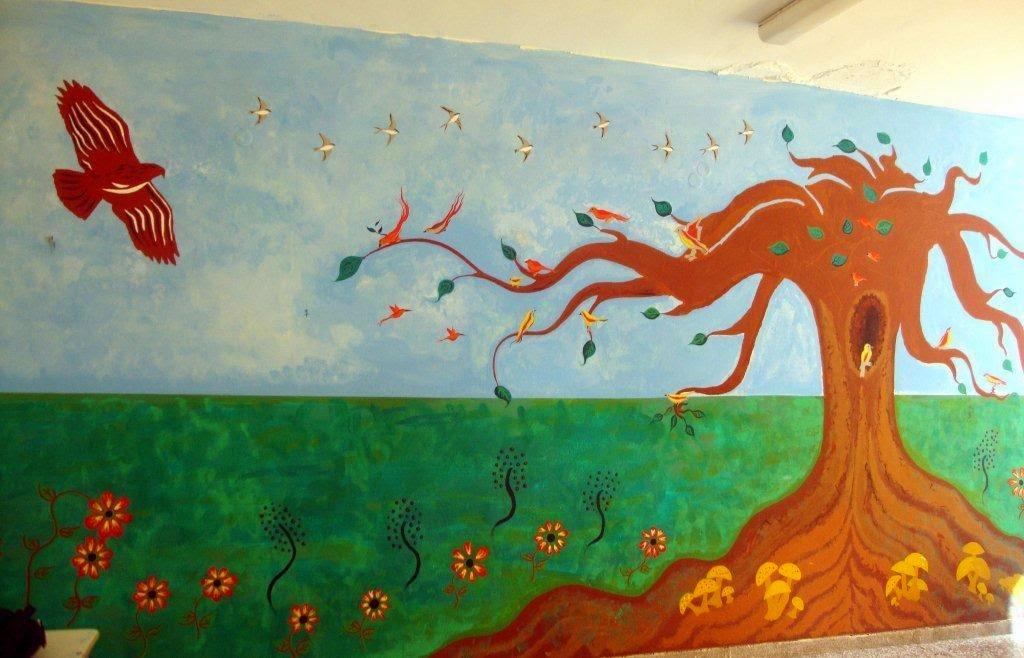 ζωγραφική σε αίθουσα