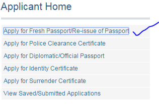 Step1 Apply for Fresh Passport\Re-issue Passport image