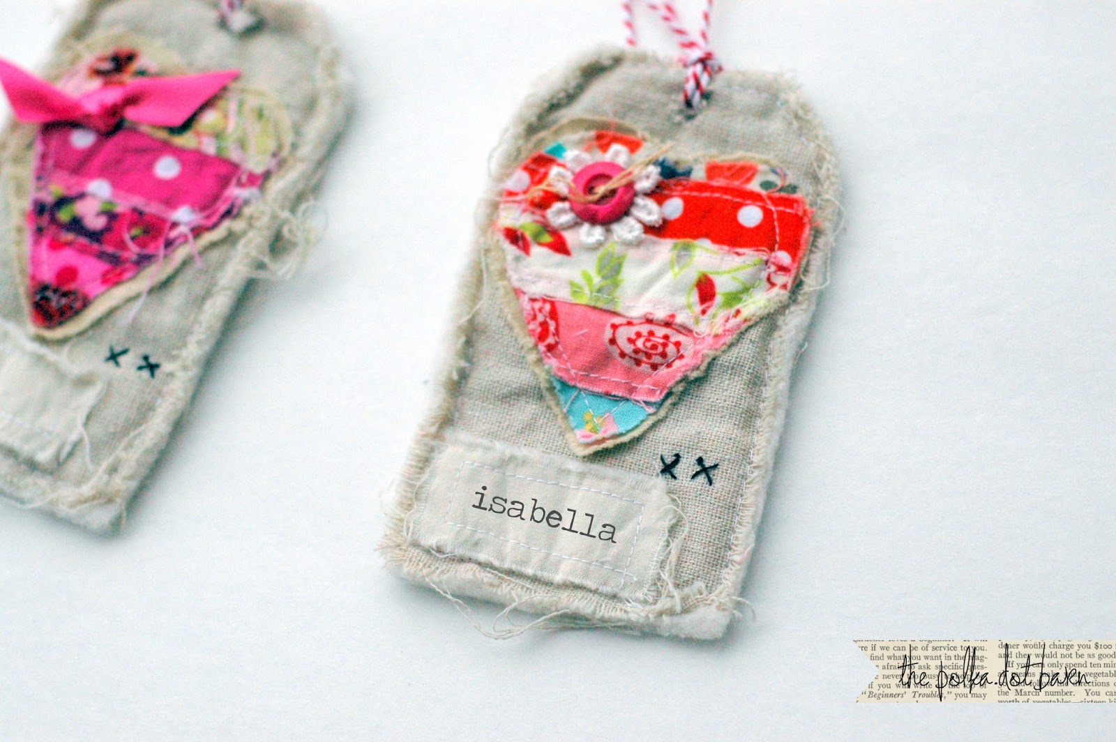 the polka dot barn: handmade heart fabric tags