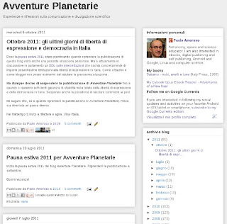 Home page del blog Avventure Planetarie