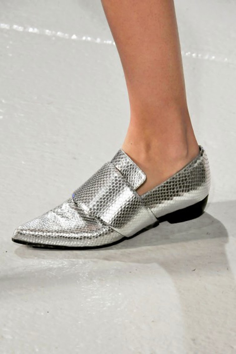 Silver snake skin texture loafers