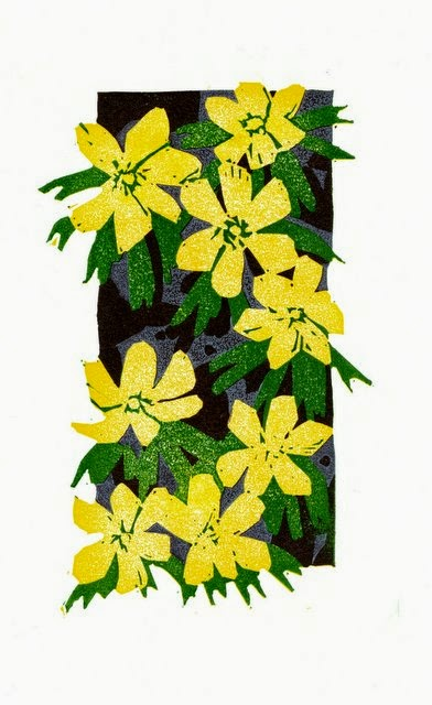 Winter aconites reduction linocut