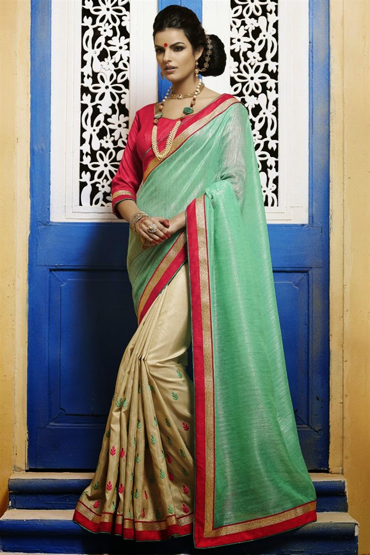 Lovely Green & Beige Bhagalpuri Silk Saree