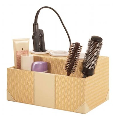 rattan holder for hair styling equipment - hair dryer, curling iron, brushes, etc.