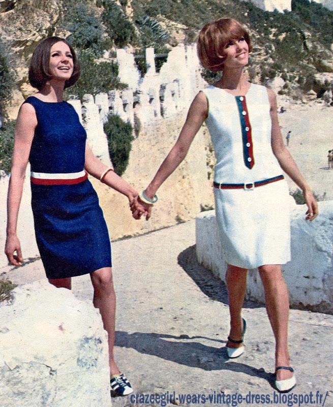 red white blue striped dress 1966 60s 1960 stripe