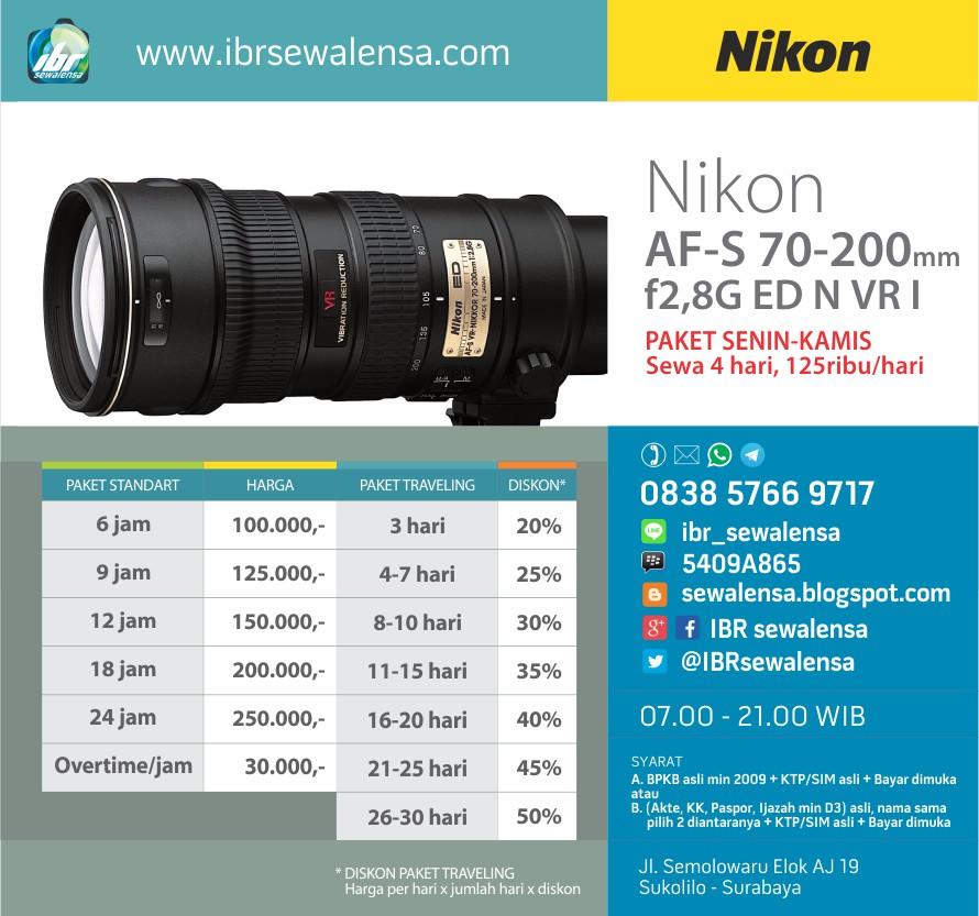 Sewa Rental lensa Nikon AF-S 70-200mm f2,8G ED VR I