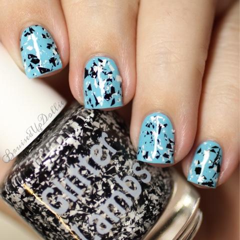 Indie Custom Handmade Nail Polish Glitter Toppers- Black White Shredded Glitters Zebra Nails
