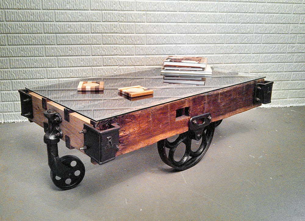 Adapted Factory Lumber Cart Into Industrial Modern Coffee Table