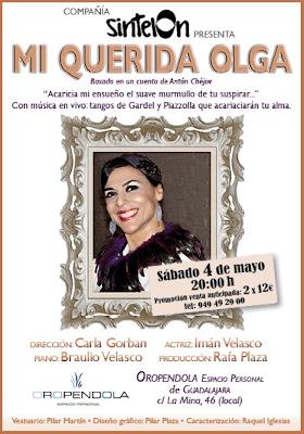 Oropéndola, Guádalajara, Mi querida Olga, teatro, Imán Velasco, Inma Velasco, Teatro, música en directo, tangos, Gardel, Piazzola, piano