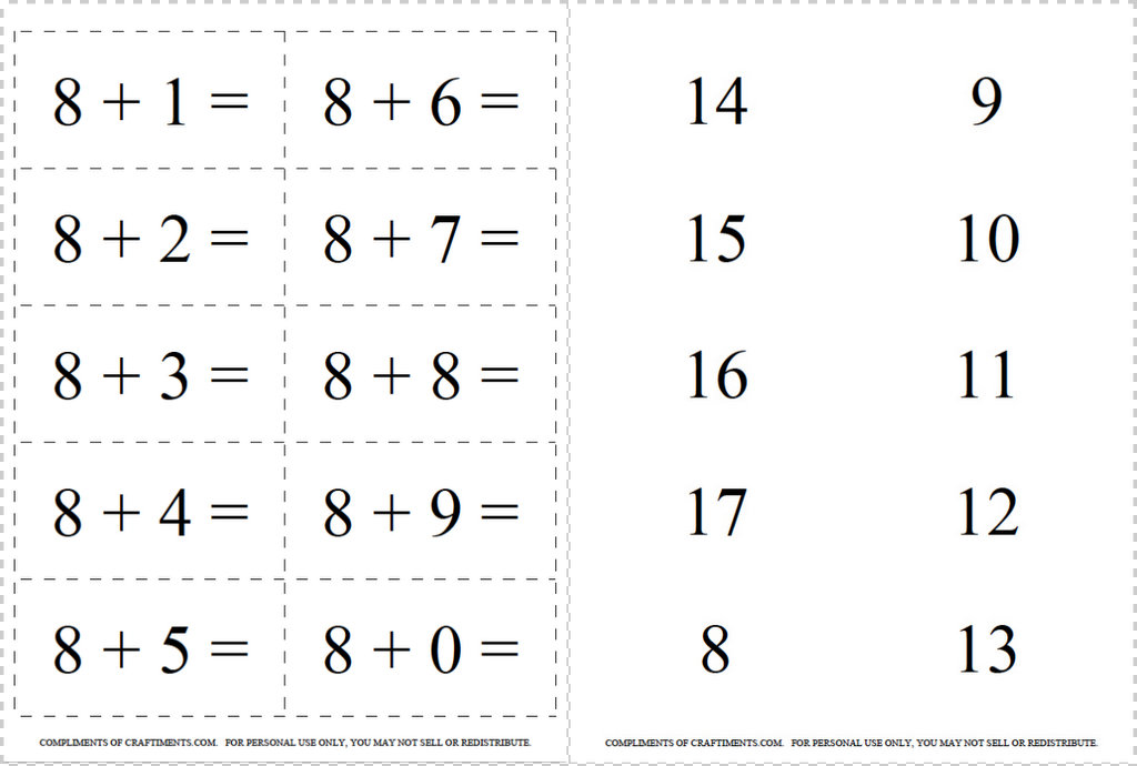 flash cards addition subtraction