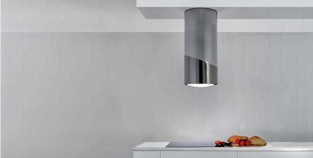 Hotte design tube pour îlot en inox par Sirius référence MO 406