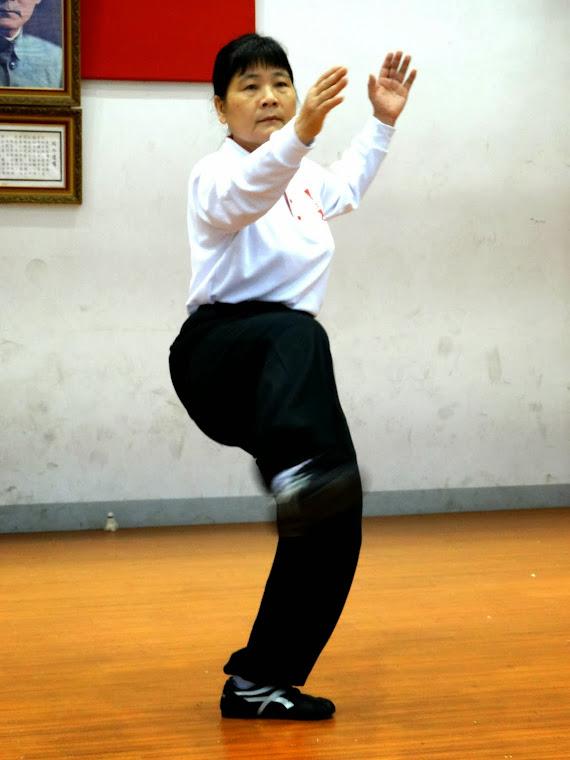 新春開拳團練活動照片-盧總幹事美琉  套腿英姿