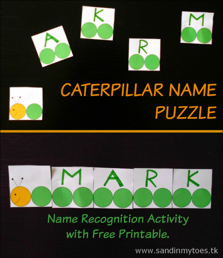 Caterpillar Name Puzzle - fun name recognition activity with a free printable.