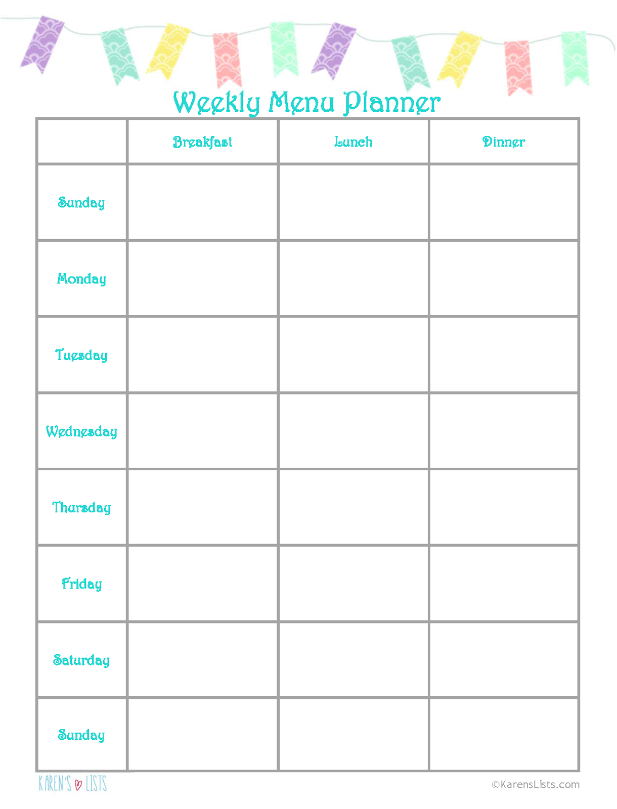 Karens Lists - Free Weekly Menu Planner