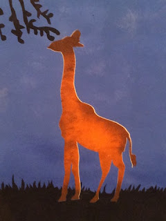 painting of A Giraffe reaching for a Leaf from a Tree