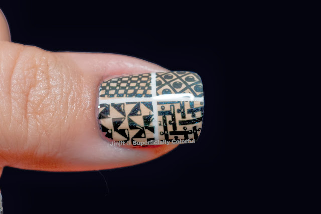 Geometric design stamping nail art vintage duo-chrome Tutorial