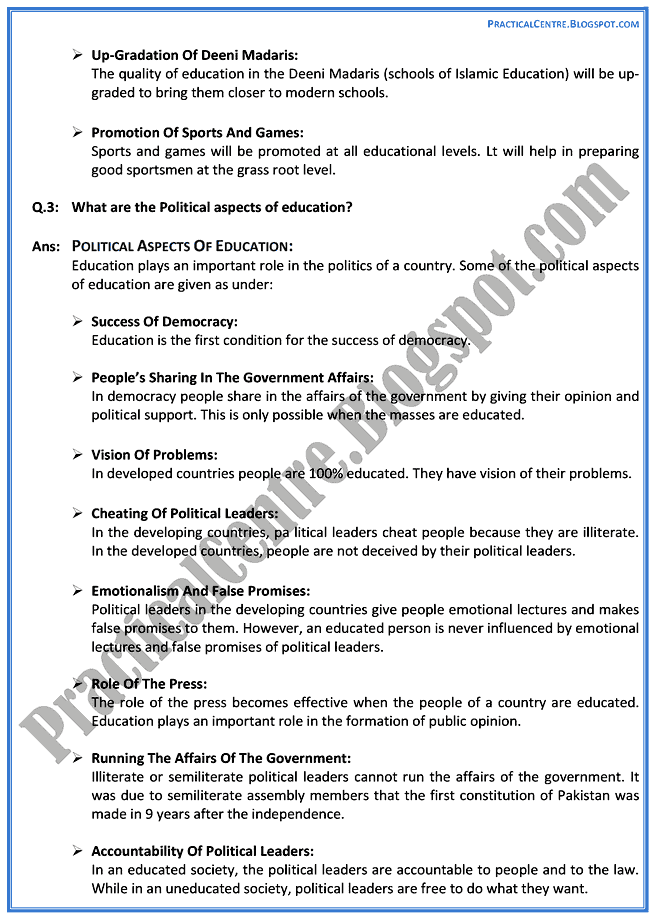 education-in-pakistan-descriptive-question-answers-pakistan-studies-9th