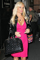 Coco Austin cleavage in a pink dress