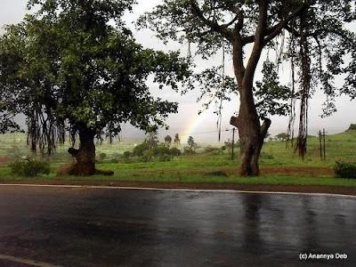 Rainbow in the monsoon at Bhandardara near Mumbai, India