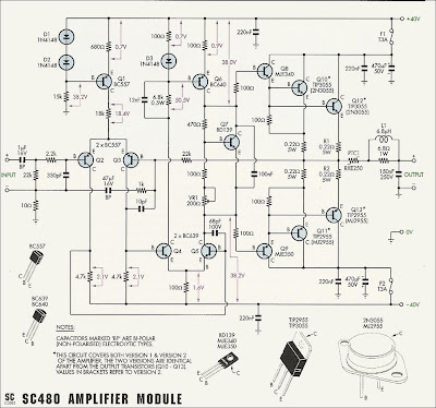 50W70W Power Amplifier with 2N3055 Diagram wiring