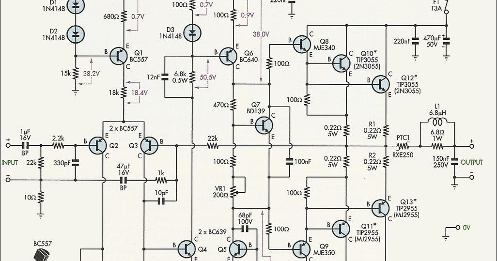 driver power amplifier circuit for 2n3055 and mj2955 t
