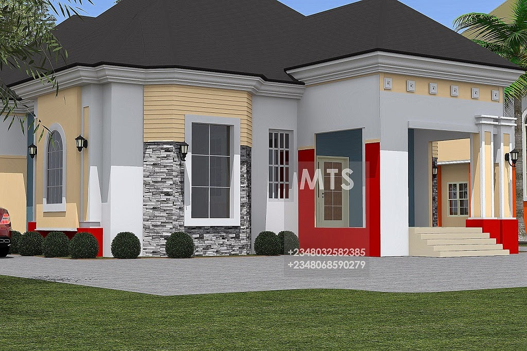 4 bedroom bungalow modern and contemporary nigerian for Four room house design