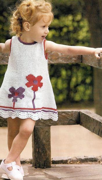 vestido sin mangas para nena paso a paso dos agujas con moldes y patrones