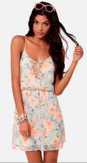 Lush Rose With Everything Floral Print Lace Dress