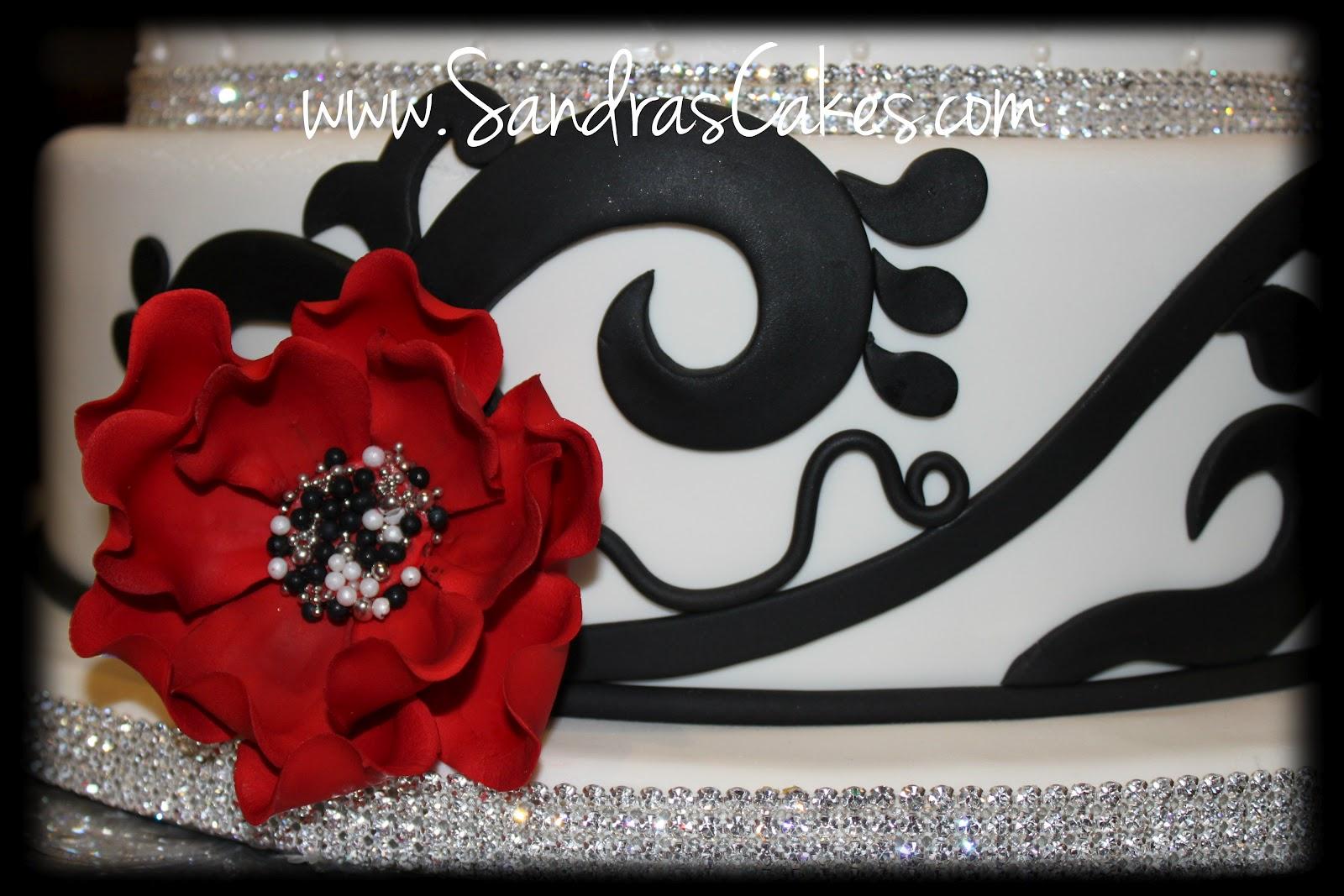 Sandra s Cakes Red Black and White Wedding Cake