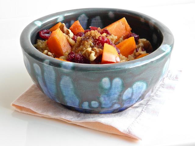 Persimmon Cranberry Quinoa Breakfast - part of the 15-minute Quinoa Breakfast Recipes Roundup!