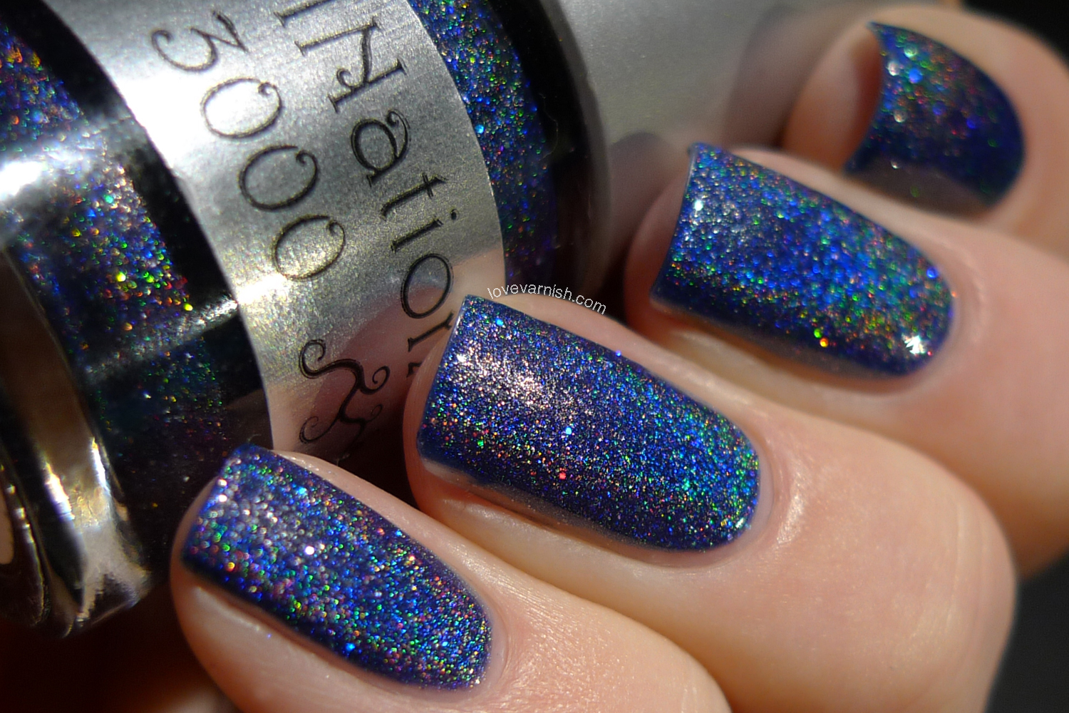 NailNation3000 Eve holographic blue nail polish
