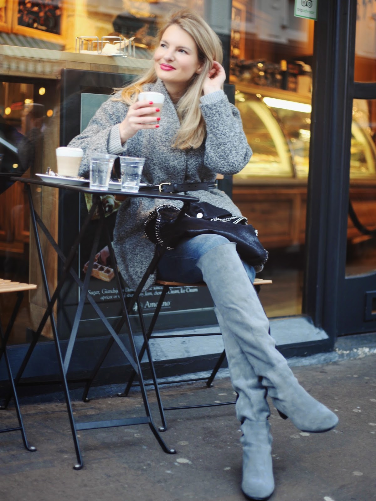 iro candie coat, iro cocoon coat, grey overknee boots, zara overknee boots grey, coffee, street style photo, street style london