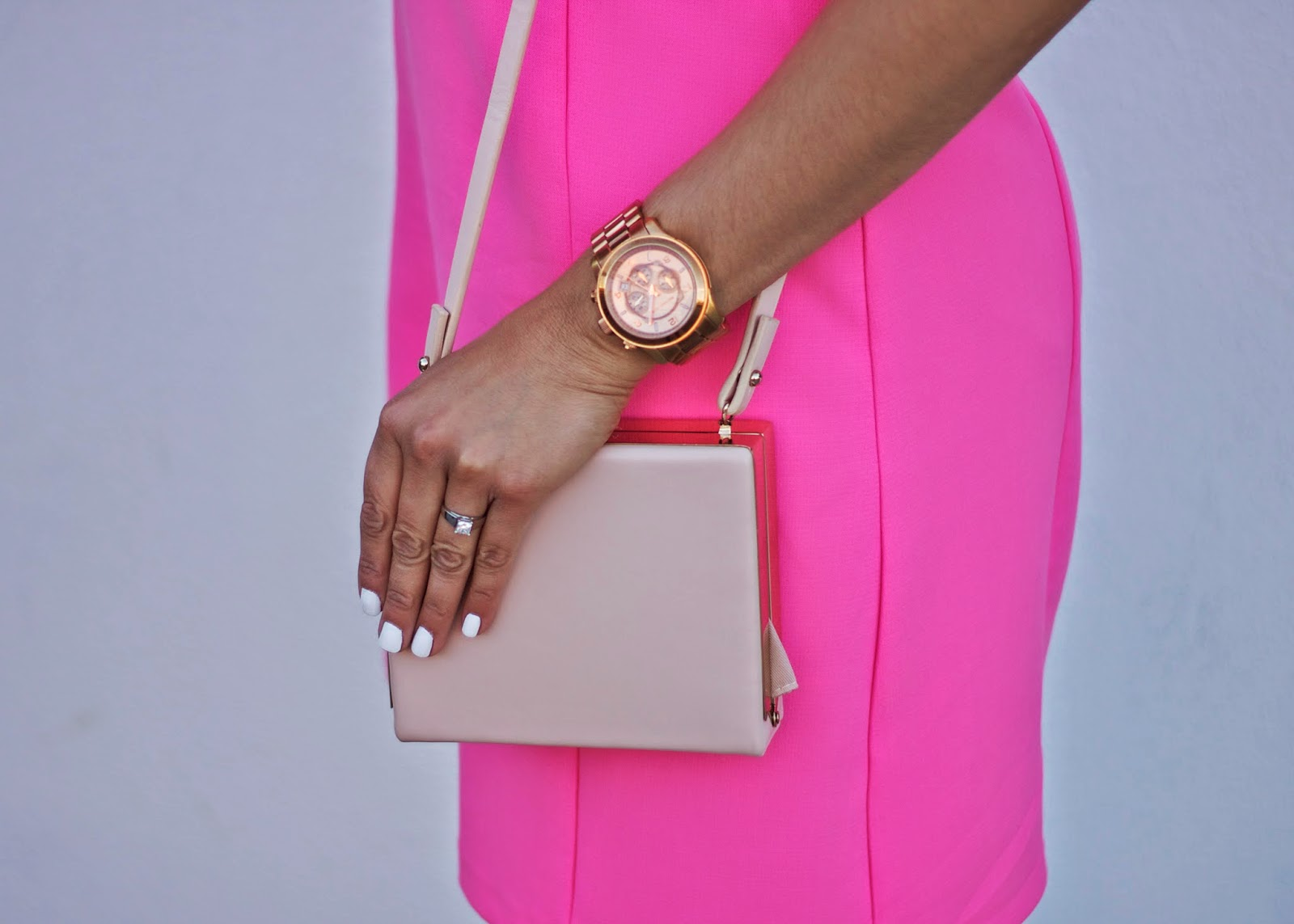 Michael Kors Large Runway Watch with pink, Close up of Hot pink outfit