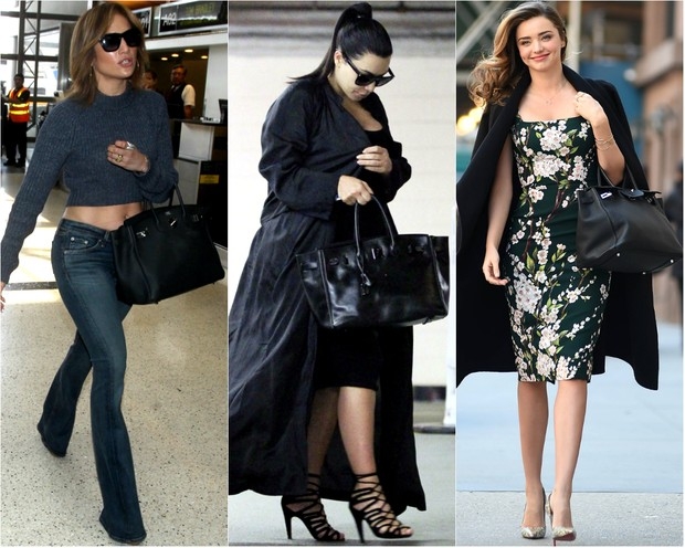 Jennifer Lopez, Kim Kardashian e Miranda Kerr com a bolsa Birkin, da Hermès (Foto: AKM Gsi-Brasil | Grosby Group)