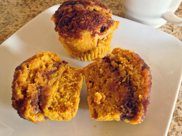 oh whimsical me: Pumpkin Doughnut Muffins with Nutella Cream