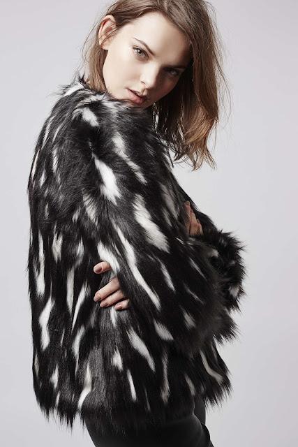 black white fur coat, topshop patch fur coat,