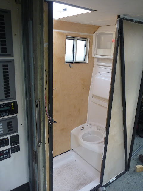 Thetford C400 toilet and matching bathroom fittings in Jim the overland motorhome