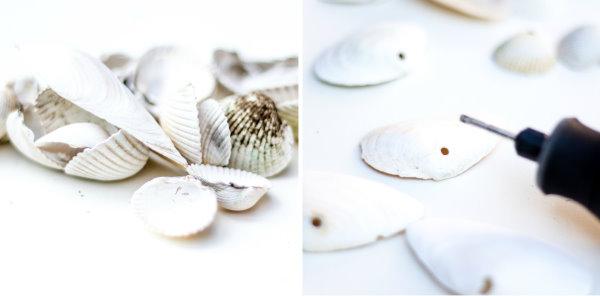 Selbstgemachte Muscheldeko - Löcher in Muscheln bohren