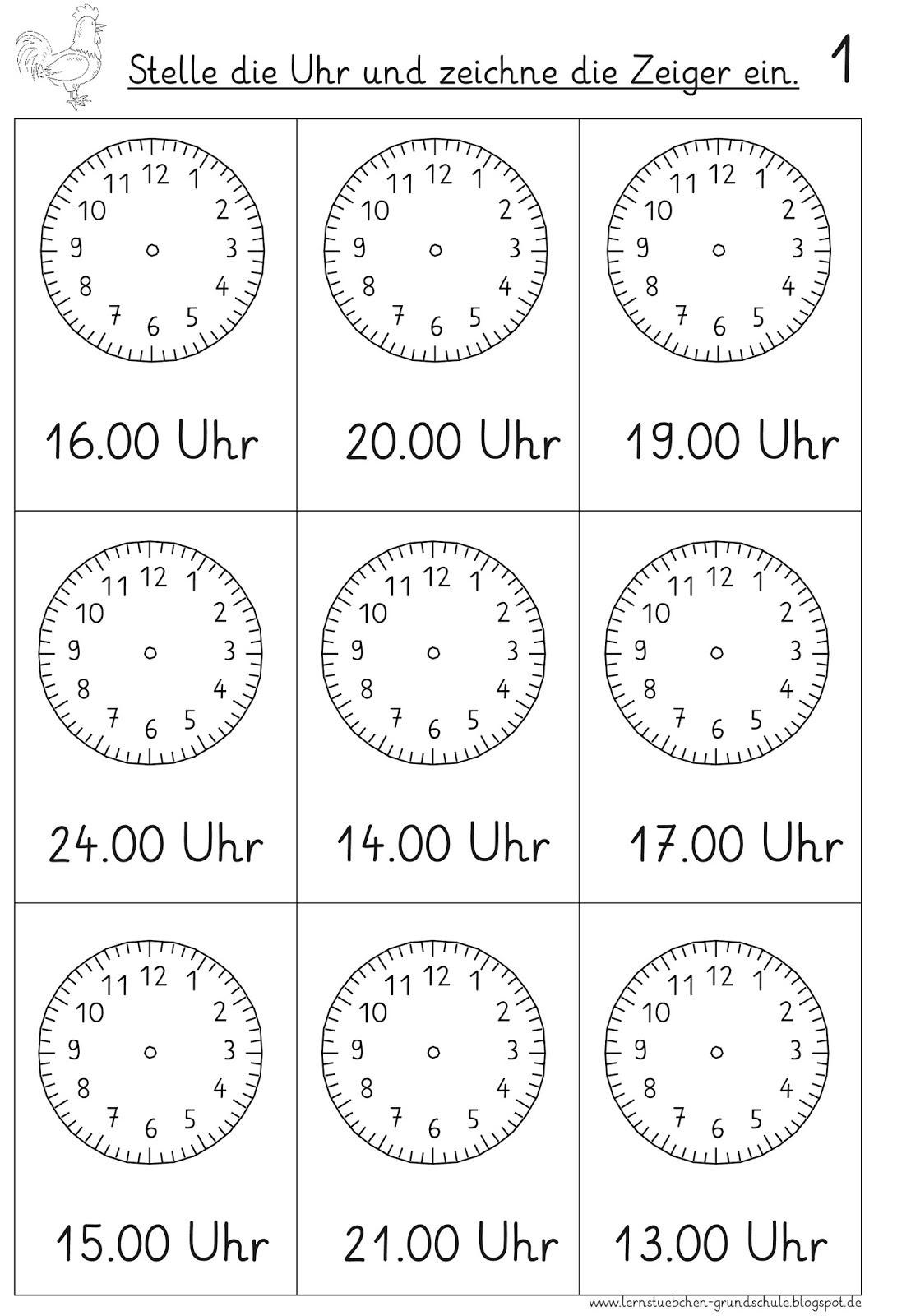 Arbeitsblatt Uhrzeit Volle Und Halbe Stunden : Lernstübchen vorgegebene uhrzeiten einstellen