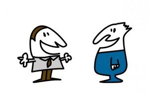 Ilustração de dois homens a conversar