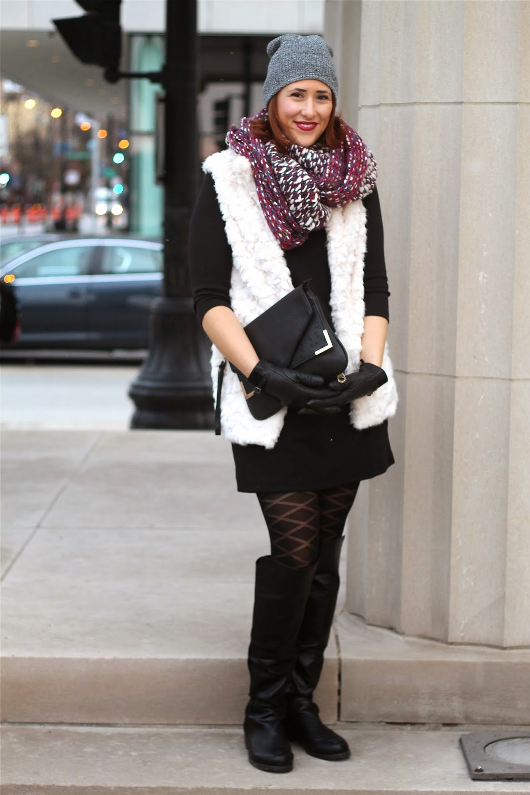 faux, fur, vest, white