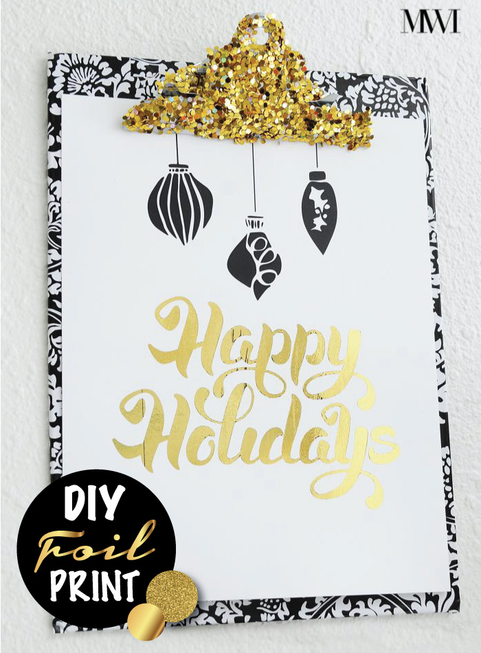 Use a laminator and foil sheets to create your own DIY foil typography art via monicawantsit.com