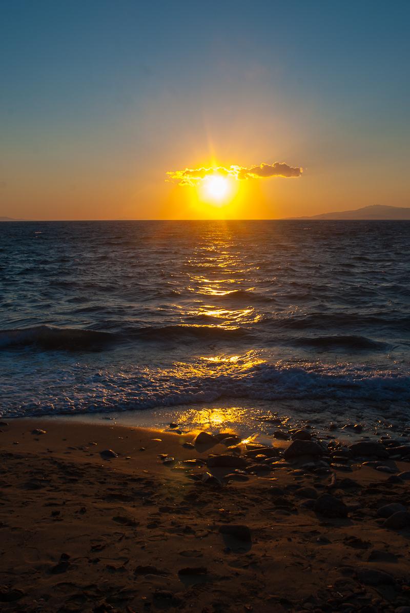 a glorious mykonos town sunset