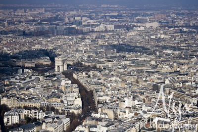 The Arc de Triumphe, from the Eiffel Tower