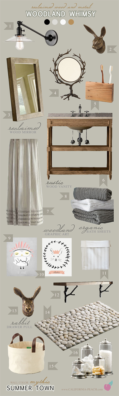 Woodland Whimsy || on California Peach || Bathroom Interior Design Style Board