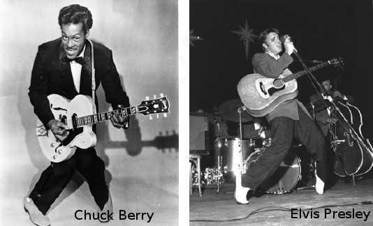Chuck Berry y Elvis Presley