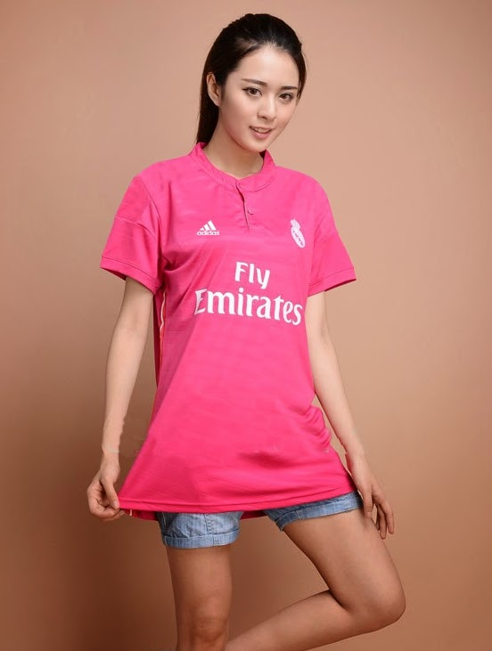 new 2015 Real Madrid 14 15 away Women pink Thailand Lady Soccer Jersey Thai female Football Shirt