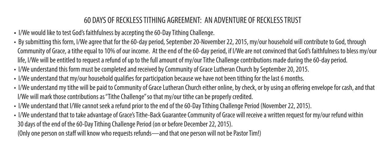 60 Day Reckless Tithing Agreement