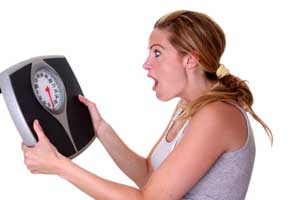 Women worried seeing her Weight